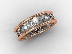 Diamond filigree ring rose gold ring filigree por TorkkeliJewellery