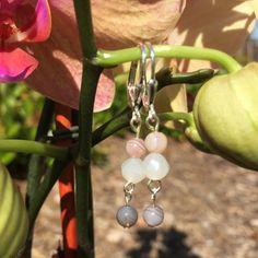 White Nebula Glass and Botswana Agate Drop Earrings