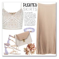 """""""Pleats, Please"""" by andrejae ❤ liked on Polyvore featuring New Look, René Caovilla, Nest, MANGO, 8 and pleatedskirts"""