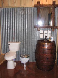 Rustic Bathroom with Old Barrel Sink in a Barn Office | Sand Creek Post & Beam  https://www.facebook.com/SandCreekPostandBeam