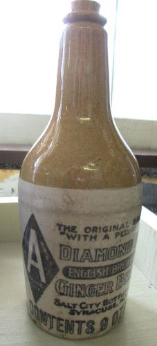 GINGER BEER STONEWARE BOTTLE SYRACUSE NY 9oz ENGLISH SALT CITY BOTTLE