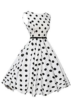 VIGVOG Women's Plus Size 1950's Swing Polka Dots Dress Party Prom (M, Black 1) *** For more information, visit