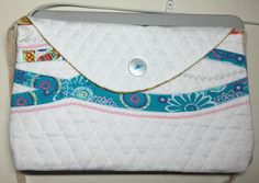White quilted purse with woven strap to go over the shoulder, lined and embelished with bright pretty fabric by FRenee2 on Etsy