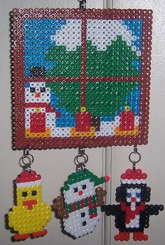 Perler Christmas window duck snowman penguin by margieelisabeth