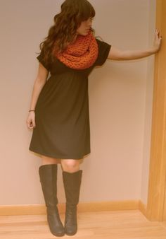 Black dress, big scarf, boots. Looks easy enough...I might actually be able to do this one with what I have in my closet!