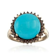 C. 1990 Vintage Turquoise and .55 ct. t.w. Brown Diamond Ring in 14kt Yellow Gold. Size 10