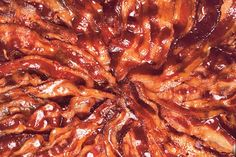 Just two humble ingredients—bacon and brown sugar—are transformed         into a salty-sweet masterpiece in the oven.