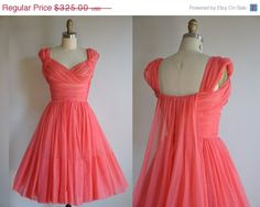 Vintage 1950s Rosey pink full skirt princess dress by simplicityisbliss. Ruched criss cross bodice with a very lovely and unique sash in the back