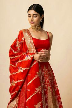 Buy Handwoven Silk Lehenga Set by Ekaya at Aza Fashions Banarasi Lehenga, Silk Lehenga, Bridal Lehenga, Ghagra Choli, Indian Bridal Outfits, Indian Designer Outfits, Dress Indian Style, Indian Dresses, Abaya Style
