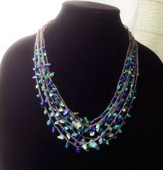 Blue Gemstones Multi-strand Necklace Sea Breeze by Adanemi on Etsy