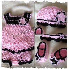 Set rosa y negro para beba en Bambinos Crochet FB