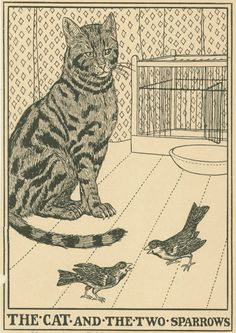The cat and the two sparrows. A Hundred fables of La Fontaine - illustrated by Percy J. Billinghurst - via Internet Archive Mean Cat, Cat Feeding, Children's Book Illustration, Flower Illustrations, Cat Behavior, Vintage Cat, Domestic Cat, New York Public Library, Terrier Dogs
