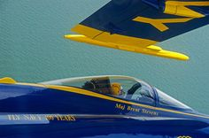 AMAZING PRECISION FLYING OF US NAVY'S BLUE ANGELS - WING TIP ONLY INCHES AWAY FROM COCKPIT CANOPY!