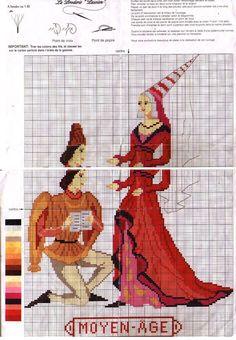 0 point de croix mode femme homme epoque moyen age - cross stitch fashion lady and man at the medieval era