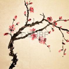Pintura China arte tradicional con flores de color en papel de arte  Foto de archivo
