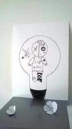 "Poster Illustration black and white ""Voodoo"" bulb Illustrations And Posters, Art Drawings, Doodle Art, Light Bulb Drawing, Ink Pen Drawings, Flower Drawing, Cute Drawings, Art Pictures, Sharpie Art"