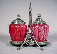 Victorian Glassware   selling victorian glassware home rare double pickle caster $ 550