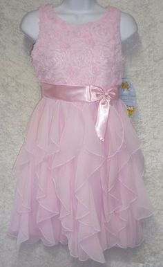 American Princess girl's dress sleeveless ice pink rosette ruffle size 16 NEW  24.99 http://www.ebay.com/itm/-/331673959326?