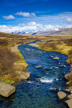 Iceland landscape: Beautiful river with crystal clear and deep blue water in the West Fjords in Iceland, Europe. Peaceful scenery full of harmony. Available as poster, framed fine art print, metal, acrylic or canvas print. (c) Matthias Hauser hauserfoto.c