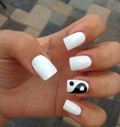 #white #nails #squared