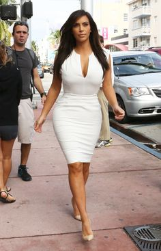 Sexy White Dress | ... , Kim Kardashian made heads turn in a sexy white Balenciaga dress