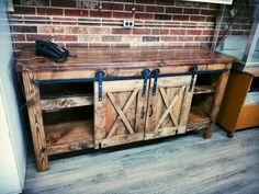 Your place to buy and sell all things handmade Sliding Barn Door Media Console. Wood, Family Friendly Living Room, Diy Furniture, Media Console, Rustic Furniture, Wooden Pallets, Diy Pallet Furniture, Barn Door Media Console, Wooden Diy