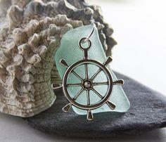 Sea Glass Pendant aqua with silver ships wheel by BorealisSeaGlass