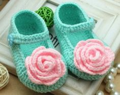 fresh spring handmade Crochet Baby Booties/ pink rose flower style / baby shoes soft baby booties for baby Booties Crochet, Crochet Baby Boots, Crochet Bebe, Baby Girl Crochet, Crochet Shoes, Crochet Slippers, Cute Crochet, Crochet For Kids, Knit Crochet