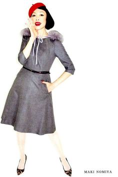 Maki Nomiya (remember Pizzicato Five?) in So-En Dec 2014 Time Travel, Snow White, Dresses For Work, Japanese, Street Style, Jelly, People, Image, Music