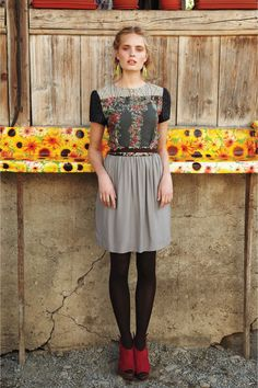 Agnita dress, with the tights and choos