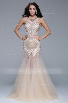 Full Back Beading Mermaid Long Tulle Celebrity Prom Dress