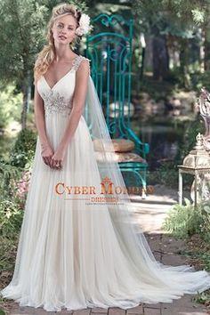 2016 Wedding Dresses Straps With Beading Tulle Court Train A Line US$ 219.99 CMDP3EDB45C - CyberMondayDresses.com