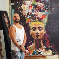 Egyptian artist Hossam Dirar has opened up a new exhibition centered around Queen Nefertiti in Zamalek, aiming to honor not just the historical figure but modern Egyptian women as well. Egyptian Beauty, Egyptian Women, Ancient Egyptian Art, Egyptian Queen Nefertiti, Art Inspiration Drawing, Galleries In London, Beautiful Paintings, Background Patterns, Women Empowerment