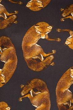 Close-up of Deyrolle pour Opening Ceremony Fox Black Print. Textile Patterns, Textiles, Textile Design, Illustration Photo, Illustrations, Art Fox, Fantastic Fox, Fox Fabric, Fox Print