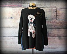 Wearable Art Clothing Black Oversize Sweatshirt Spooky Skull | Etsy