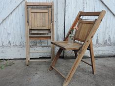 Vintage Wooden Slat Chairs Pair of Rustic by used2bnewVintage