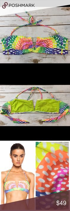 """Mara Hoffman Electrolight Bikini Top Gorgeous two piece Mara Hoffman Swim """"Electrolight"""" V-wire bandeau bikini swimsuit top. Top is unpadded. Halter straps are removable.  Labeled a size Large, womens.  ***Listing is for the swimsuit top ONLY.***  Brand new without tags, unworn, no flaws to note! Mara Hoffman Swim"""