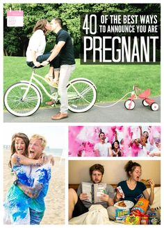40 OF THE BEST WAYS TO ANNOUNCE YOU ARE PREGNANT - These are SO cute!! Ways to announce to your husband, your family AND Gender Reveal!