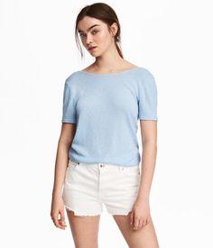 Fine-knit Top   Light blue   Women   H&M US
