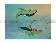 Swirl of Fun Whales by malathip on Etsy, $20.00