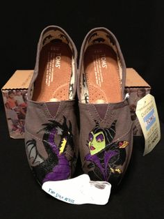 Custom Designed Maleficent Hand Painted TOMS by TheSoleArtist, $98.00
