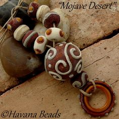 MOJAVE DESERT  - Handmade Lampwork Hollow Focal Bead with Coordinating Beads by HavanaBeads.etsy.com