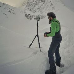 C4 director @renan ozturk photo // Putting the @radiantimages #OZO 360° 3D VR rig through it's paces. Normally shooting this type of Virtual Reality you can't work in the precipitation of snow or rain because drops on the lens throws off the stitching in the 360° world. But with temps dropping to -20° F we were able to roll the camera even in the middle of the white out storm because it was to cold/windy for anything to stick to the glass. There are were other complications but nothing that…