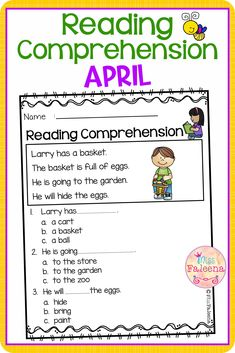 April Reading Comprehension is suitable for Kindergarten students or beginning readers. There are 20 pages of reading comprehension worksheets. Each page contains 4 sentences passage, a related picture, and 3 multiple choice questions. Preschool | Preschool Worksheets | Kindergarten | Kindergarten Worksheets | First Grade | First Grade Worksheets | Reading| Reading Comprehension | April Reading Comprehension | Reading Comprehension Literacy Centers | Printables| Worksheets First Grade Worksheets, Kindergarten Worksheets, Reading Comprehension Worksheets, Helping Children, Multiple Choice, Literacy Centers, Sentences, Students, Names