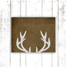 Printable Art - Deer Antler Print - Rustic Art Print for Vintage Style Home Decor - Instant Download