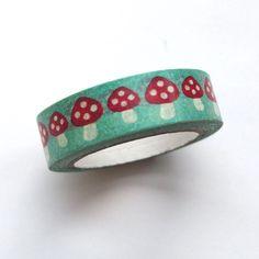 Washi Masking Tape Roll - Mushroom Masking Tape, Washi Tape, Cuff Bracelets, Sunglasses Case, Stuffed Mushrooms, Rolls, Japanese, Paper, Jewelry