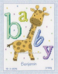 Buy+Baby+Giraffe+Cross+Stitch+Kit+Online+at+www.sewandso.co.uk