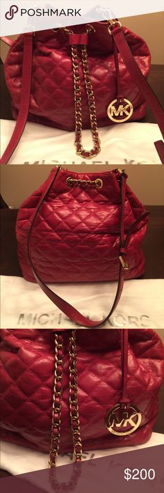 """Michael Kors Frankie Quilted Bag Used red quilted MK leather bucket bag. Gold tone hardware. Some discoloration (shown on photos) but not really noticeable. Overall, in good and clean condition. From pet/smoke free home. Comes with the dust bag and extra strap (22"""" drop). Listing price negotiable. Michael Kors Bags Totes"""