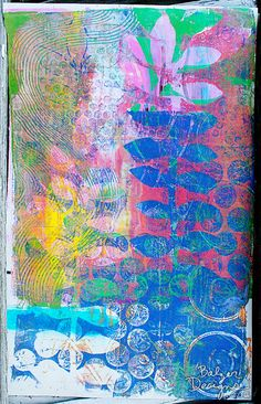 Julie Fei-Fan Balzer - love the colors . Art Journal Pages, Journal Prompts, Journals, Tableaux D'inspiration, Gelli Plate Printing, Gelli Arts, Art Journal Techniques, Plate Art, Painted Paper
