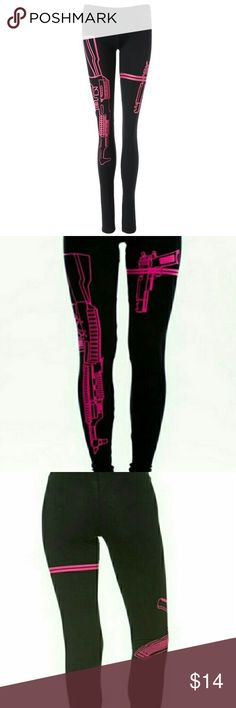 🆕 Guns Out Leggings ✨Brand New✨ Perfect for Halloween or working out at the gym, you'll love the way these black leggings with neon pink machine-guns highlight your curves! Stretchy elasticized waistband, Fits petite sizes S-L. Comfy 95% cotton & 5% spandex. 🚫No trades or Paypal. 👍🏻15% off 3+ item bundles! Pants Leggings